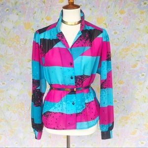 True Vintage💖80s Silky Abstract Neon Blouse!